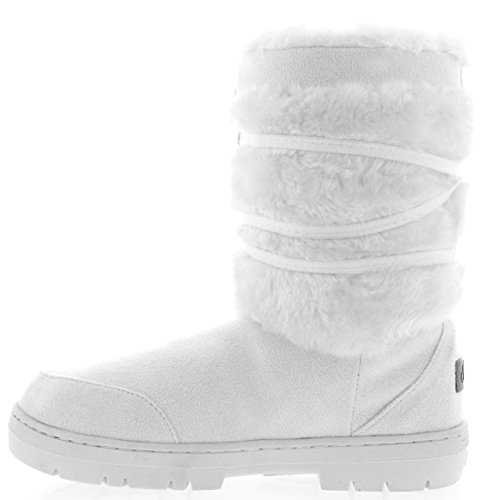 Mujer Pom Pom Corta Invierno Forrada De Piel Nieve Lluvia Zapato Botas Blanco