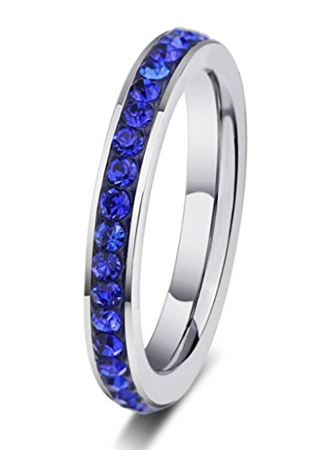 Created Garnet Stainless Steel Ring - Umiso Women's Ring Stainless Steel Single Crystal Plating Width 3mm Size 6 Navy Blue