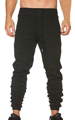 YUNY Mens Drawstring Low Rise Stretchy Pull-On Jogger Sweatpants Pants Black - Low Rise Sweatpants