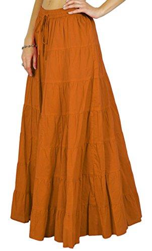 de Orange femmes Summer Jupe Coton taille Rouille conception de cordon Phagun La serrage avec Ethnique la YUqSwZ