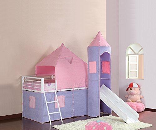 Benzara BM182842 Princess Castle Twin Size Tent Bunk Bed, Multicolor
