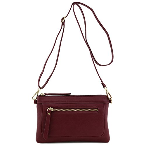 Multi-functional Wristlet Clutch and Crossbody Bag Burgundy by FashionPuzzle