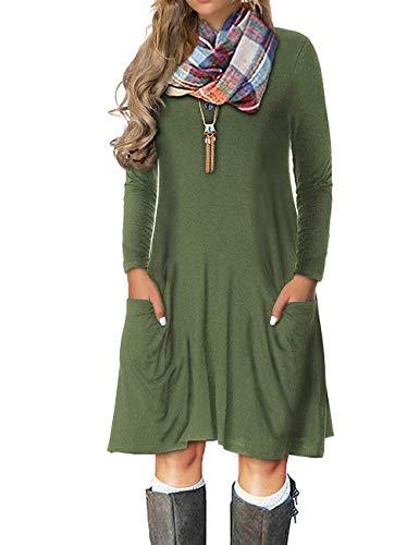 VERABENDI Women's Plus Size Casual Long Sleeve Loose Pocket Dress Army Green 2XL ()