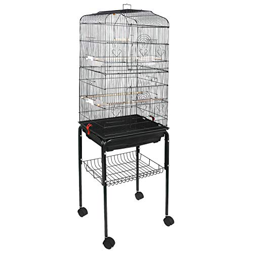 Large Birdcage - ZENY 59.3'' Bird Cage with Rolling Stand Wrought Iron Pet Bird Cage Parrot Cockatiel Cockatoo Parakeet Finches Birdcage Medium Pet House