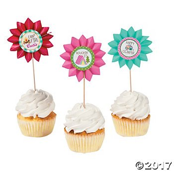 Camp Glam Fan Cupcake Picks - 25 pc