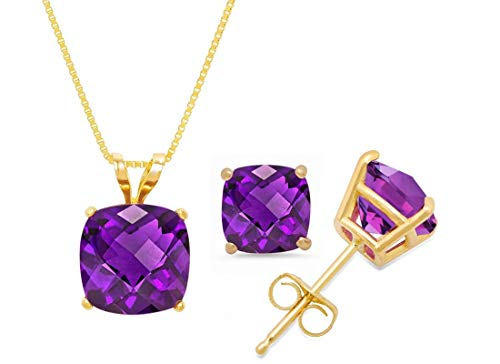- Certified 14k Yellow Gold Cushion-Checkerboard-Cut Amethyst Pendant Necklace & Stud Earring Boxed Set, 18