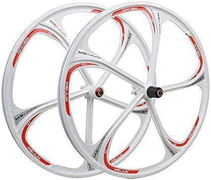 Amazon Com Magnesium Alloy Wheels 26 Inches Mountain Bicycle Wheel 5 Spokes Bike Wheel Set White 26 Inch Sports Outdoors