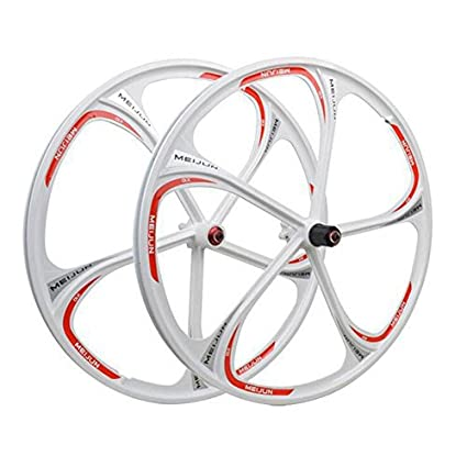 6b824f72ef4 magnesium alloy wheels 26 inches Mountain Bicycle Wheel 5 spokes bike wheel  set (White 26