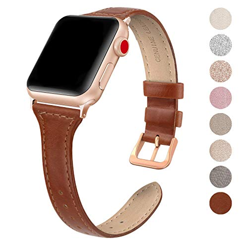 SWEES Leather Band Compatible for Apple Watch iWatch 38mm 40mm, Slim Thin Dressy Elegant Genuine Leather Strap Compatible iWatch Series 4 Series 3 Series 2 Series 1 Sport Edition Women, Cognac Brown