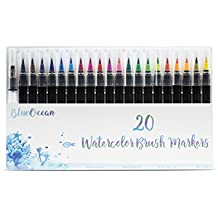 Premium Watercolor Brush Markers Pen Set- 20 Vivid Colors, Soft Flexible Tip, Durable Water Coloring for Children Adult Coloring Books, Manga, Comic, Calligraphy