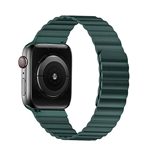 VeryBet Unique Designed Compatible for Apple Watch Band Leather Loop 44mm 42mm, Adjustable Strap with Strong Magnetic Closure for iWatch Series 5-4-3-2-1 (Color Green)