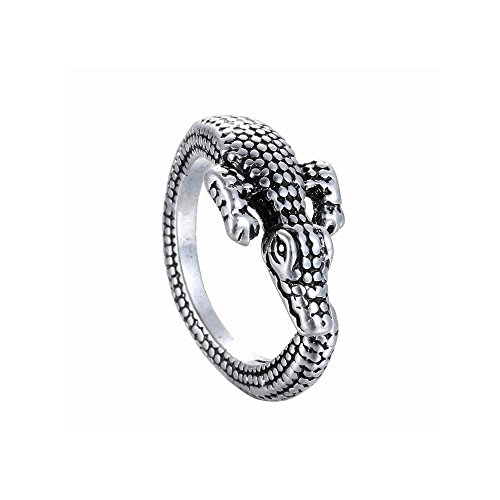 Winter's Secret Creative Exaggeration Alloy Opening Animal 3D Crocodile Retro Unisex Ancient Silver Ring