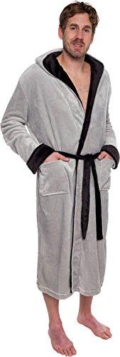 Ross Michaels Mens Hooded Two Tone Plush Shawl Kimono Bathrobe Robe ... 2acdb3248