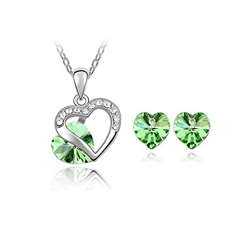 Deep Dish Oval Covered (The Starry Night Love Promise Hollow out Olive Green Crystal Heart Pendant Necklace and Earring Suit)