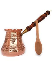 DEDE Copper - PCZ Series (Large - 14fl.oz) - Thickest Solid Copper Stamped and Hammered Turkish Greek Arabic Coffee Pot with Wooden Handle, Stovetop Coffee Maker, Jezve, Cezve, Ibrik, Briki