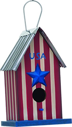 USA Americana 5.5 x 9.25 Inch Wood Decorative Indoor Outdoor Hanging Birdhouse by Transpac Imports, Inc.