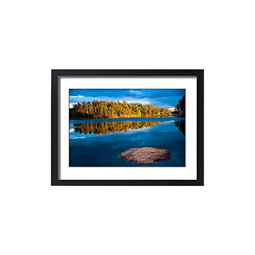 Media Storehouse Framed 24x18 Print of Early Evening Reflections in The boundry Waters of Minnesota-Ontario (5784733) (Best Fishing Lakes In Quetico)