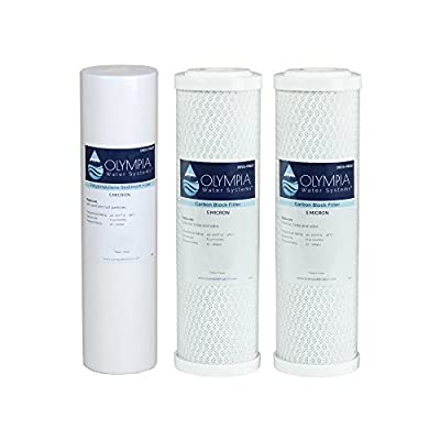 """Olympia Water Systems 5 Micron Replacement Filter Kit - Stages 1, 2 & 3, 10"""" Replacement Filters"""