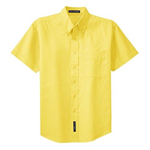 (Port Authority Short Sleeve Easy Care Shirt, Yellow, X-Large)