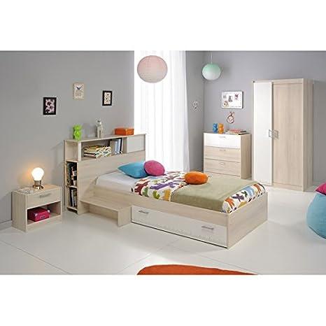 Kinderzimmer 4-teilig grau / weiß akazie inkl Kommode + Kinderbett  Bettkasten + Nachtkommode + Kleiderschrank Jugendzimmer