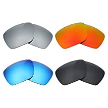 MRY 4 Pairs POLARIZED Replacement Lenses for Oakley Dispatch 1 Sunglasses-Stealth Black/Fire Red/Ice Blue/Silver Titanium