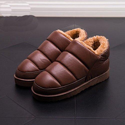 Giy Donna Uomo Inverno Paio Pantofole Pantofole Impermeabili Interne Ed Esterne Peluche Pantofole Antiscivolo Marrone