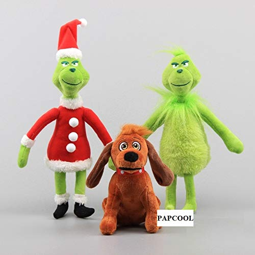 (PAPCOOL Set 3 Grinch Plush Toys 6 - 14 inch Hot Toy Cute Stuffed Stuff Doll Dog Christmas Halloween Birthday Valentine Collectable Gift The Movie Collectible Gifts Big Size Collectibles)