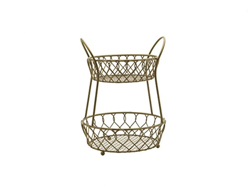 Gourmet Basics by Mikasa Loop and Lattice Metal 2-Tier Round Fruit Storage Basket, Matte Gold