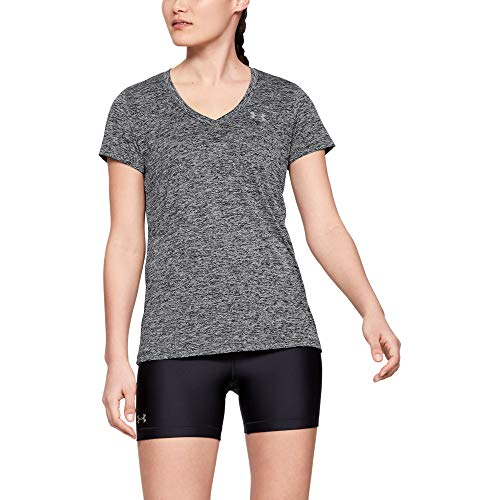 Under Armour Womens Tech V-Neck Twist Short Sleeve T-Shirt, Black (001)/Metallic Silver, Small