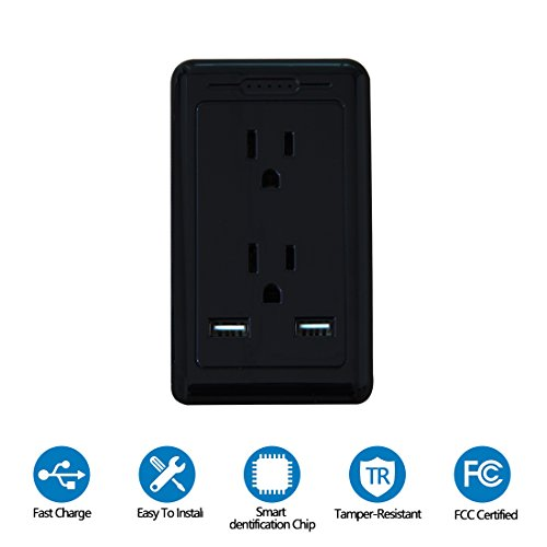 Price comparison product image TOSSOW 2 AC Wall Outlet with Dual USB Ports 2.5A Surge Protector Wall Mount Plate Fast/Quick Charger with LED Indicator, Smart Multi USB Charger Wall Plug,UL Certified,Black