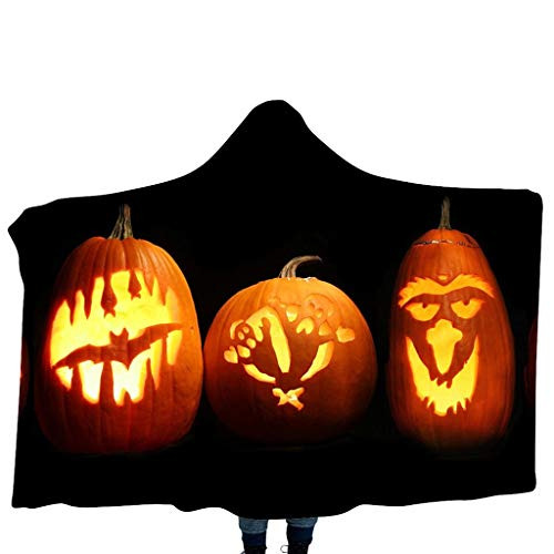 FEDULK Halloween Pumpkin Pattern Wear Costume Home Blanket Scarf Children's Hooded Shawl Wraps(K)