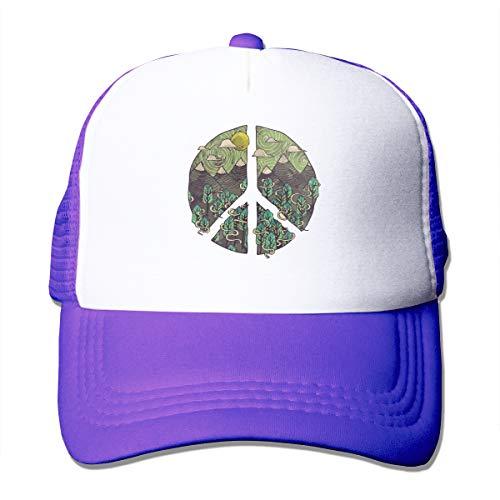 Nature Peace Sign Mesh Hats for Women Men, Baseball Trucker Cap with Adjustable Snapback Strap Purple ()