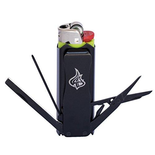 LighterBro - Lighter Sleeve - Multi-tool - Stainless Steel - Stealth - - Trim Metal Rope