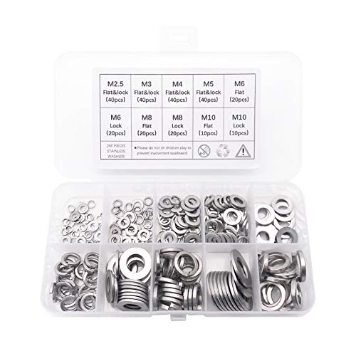 - 260-Pcs [7-Size] QTEATAK 304 Stainless Steel Flat Washer and Lock Washer Assortment Set - Size Included: M2.5 M3 M4 M5 M6 M8 M10