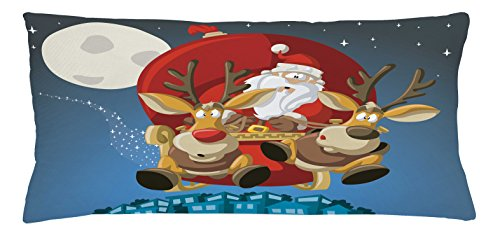 (Lunarable Christmas Throw Pillow Cushion Cover, Santa on Sleigh with Rudolf Over City Humor Cartoon Style Universal Moon Stars, Decorative Accent Pillow Case, 36 X 16 Inches, Multicolor)