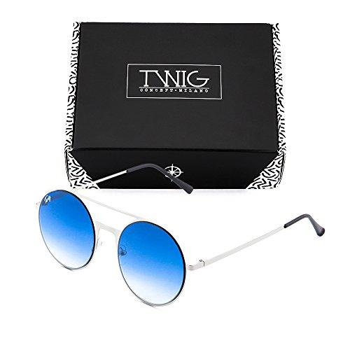 de degradadas TWIG FRIDA espejo Degradado Plata mujer Gafas sol Azul Zwqdgg