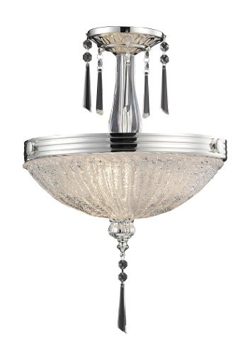 Elk 2394/3 3-Light Semi Flush In Polished Silver and Iced Glass