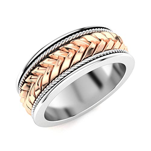 Diamondere Natural and Certified Celtic Wedding Band Ring in 18k Rose and White Gold | 7 MM Band Ring for Mens, US Size ()