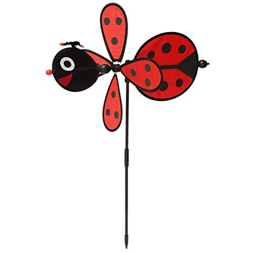 Techinal 2Pcs Bumble Bee / Ladybug Randomly Windmill Whirligig Wind Spinner Home Yard Garden Decor