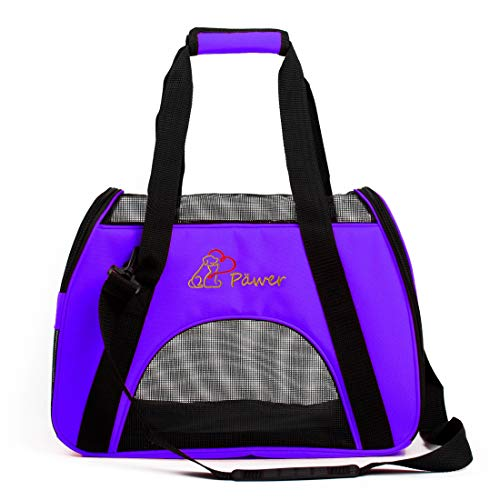 Pawer Soft-Sided Pet Carrier for Cat and Small Dog,Violet Color,Medium Size,Washable Cloth Airline Approved Travel Tote,with 2 Mesh Opens and a Strap for Carry,Multiple Colors Available