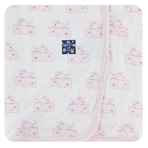 Kickee Pants Little Girls Print Swaddling Blanket - Natural Mouse & Cheese, One Size
