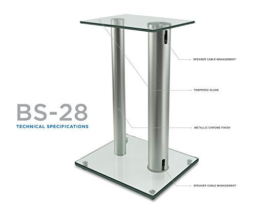 Mount-It! Stands for Theaters, 18 Inch 22 Lbs Capacity, Tempered Glass Aluminum, Clear and Silver, Pair