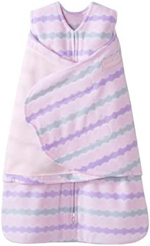 HALO SleepSack Micro-Fleece Swaddle, Pink Waves, Newborn