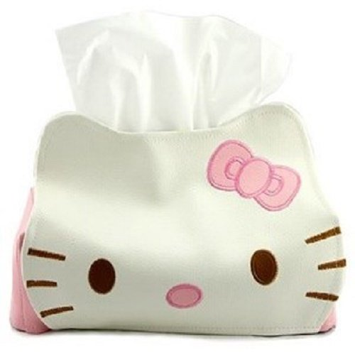 GlobalEdge Hello Kitty Head Shaped Tissue Box Cover for Home Office Car Fits a Standard Tissue Box ()