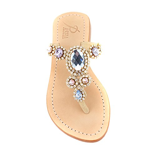 Rose Blue Gold 'Corinth' Leather Sandals (40, Rose Blue / Gold)