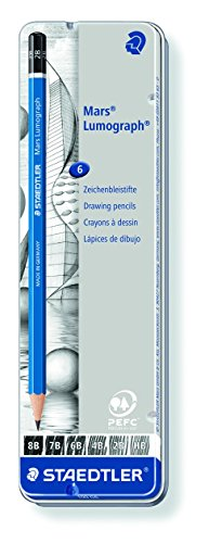 Staedtler Lumograph Graphite Drawing and Sketching Pencils 100G6, Set of 6 Degrees in an Attractive Storage Tin (100G6)