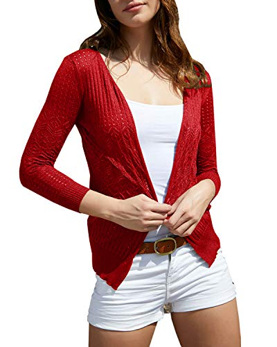 Womens Cardigans Lightweight Long Sleeve Crochet Casual Open Front Knit Cardigan Sweaters Red