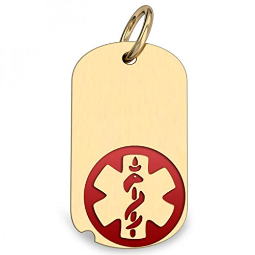 14K Gold Dog Tag Medical Pendant W/ Red Enamel Available in 4 Sizes