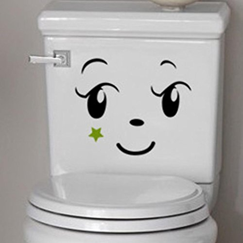Wall sticker, Hatop Toilet Toilet Stuck Lovely Smiling Face Free To Stick Notebook Stick (A) by Hatop (Image #1)