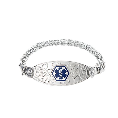 Divoti Custom Engraved Lovely Filigree Medical Alert Bracelet -Handmade Byzantine-Deep Blue-7.0